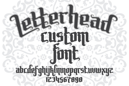 custom letters: Letterhead custom Font on round pattern background. Gothic type letters and numbers. Stock vector typography for labels, headlines, posters, tattoo etc.