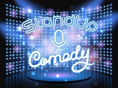 stand up comedy neon letters live stage op de achtergrond met gloeilamp gloeiende muur. Vector abstracte achtergrond