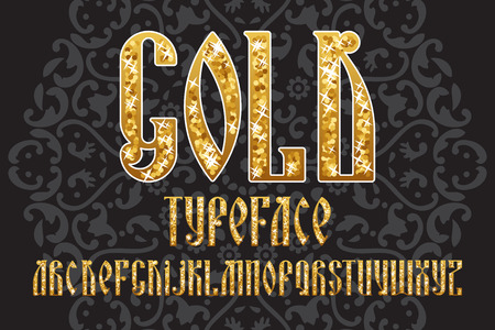 headlines: Gold typeface. Latin stylization of Old slavic font. Custom type vintage letters on a dark background. Stock vector typography for labels, headlines, posters etc.