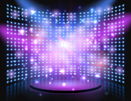 stage performance: Performance stage with lightbulb glowing backdrop wall. Vector abstract background