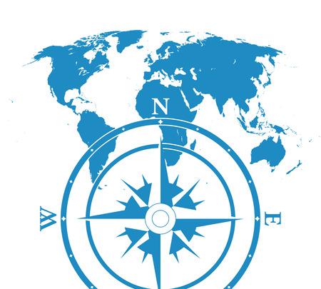 similar: Blue similar blank flat world map. Infographic world map with compas