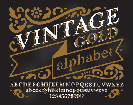 Retro Vintage Alphabet Font Custom Type Letters And Numbers On A Dark Grunge Background