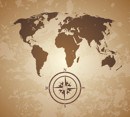 vintage old style world map with compas