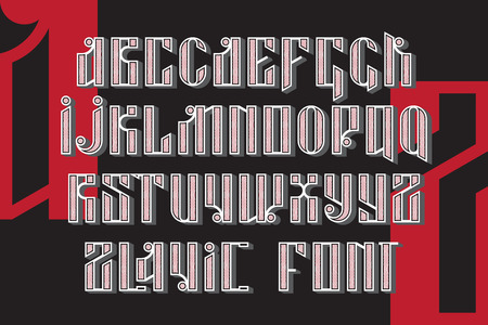 slavic: Slavic font. Custom type vintage letters on a dark background and sample text. Stock vector typography for labels, headlines, posters etc.