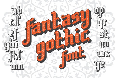 Fantasy Gothic Font. Retro vintage alphabet. Custom type letters on a light background. Stock vector typography for labels, headlines, posters etc. Illustration
