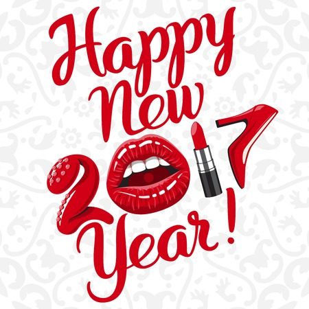 red lips: Happy new 2017 year. woman things. Red glossy lips of open mouth, makeup lipstick, high heels shoes. Vector illustration