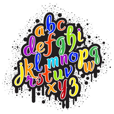 Graffiti: Hand drawn graffiti alphabet. Brush pen letters. Handwritten script font. Hand lettering custom typography with paint flows and blots Illustration