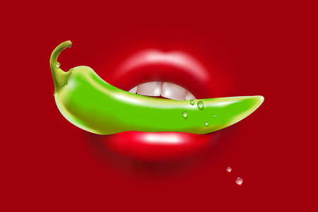 Green Pepper in the Woman Red Sexy Mouth and Water Drops Illustration