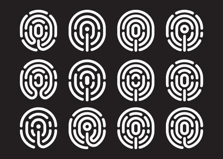 fingermark: Information and identification fingerprint icon set on black background