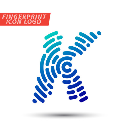 Vector logo design element, abstract information and identification fingerprint letter color icon