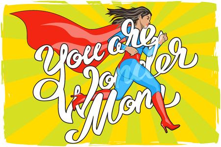 Sie sind Wonder Mom - Hand Schriftzug. Runing Frau. Weibliche Helden. Mädchen in der Superheld-Kostüm. Pin Up Comic Style. Pop-Art-Vektor-Illustration