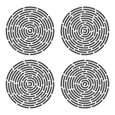 fingermark: abstract information and identification finger print set Illustration