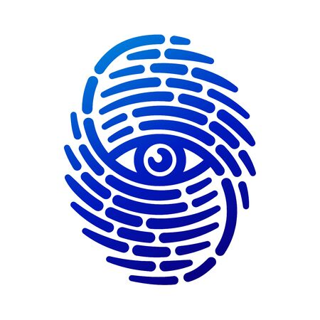 Huella digital con el ojo interior. logotipo de la seguridad conceptual o icono de identificación de huella dactilar línea discontinua