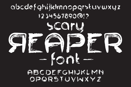 textured effect: Hand made Scribble Font Scary Reaper. Custom handwritten letters and numbers. Vintage retro textured typeface grunge effect. Vector alphabet illustration.