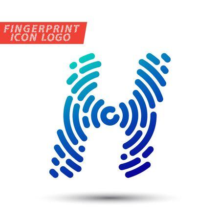 fingermark: Vector logo design element, abstract information and identification fingerprint letter color icon