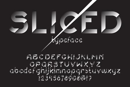 Fuente en rodajas. Tipo original de la rebanada para la publicidad, insignia, etiquetas. Fuente de distorsión tipográfica. Ilustración del vector