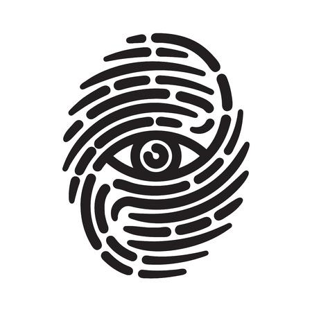 fingermark: Fingerprint with eye inside. Conceptual security logo or identification icon of dashed line finger print