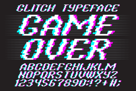 the game is over: Glith typeface Game Over. Glitched font and numbers set.