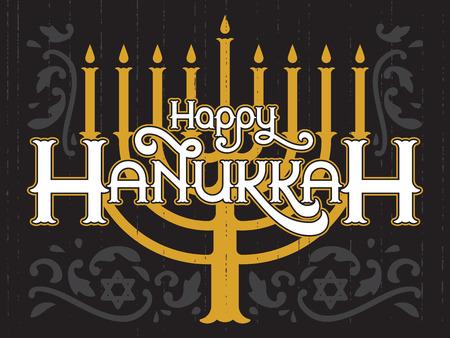 menora: Happy Hanukkah, jewish holiday. Lettering of Hanukkah template. Vector background with menorah. Elegant greeting card.