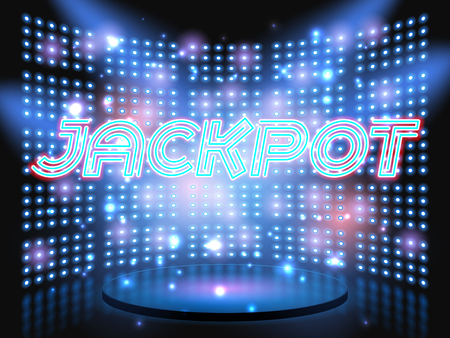 live action: Jackpot casino win neon lettering live stage on background with lightbulb glowing wall. Vector abstract background Illustration