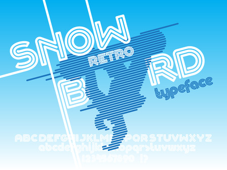 retro type: Snowboard font. Retro Vintage poster and typeface. Line Alphabet. Type letters and numbers. Illustration