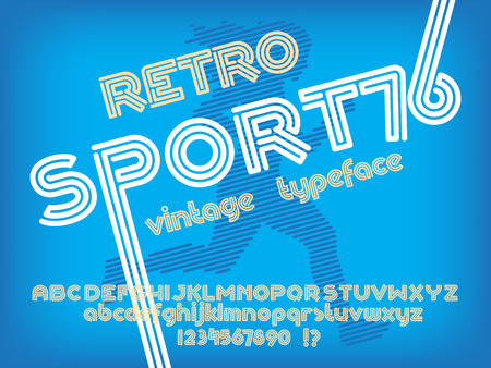 retro type: Sport 76 font. Retro Vintage typeface. Line Alphabet. Type letters and numbers.