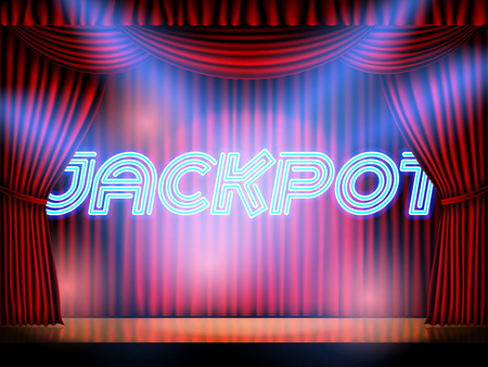 Jackpot casino win neon lettering live stage on background with red curtain. Vector abstract background Illustration