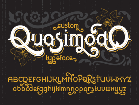 western script: Custom retro typeface Quasimodo. Vintage gold alphabet font set Illustration