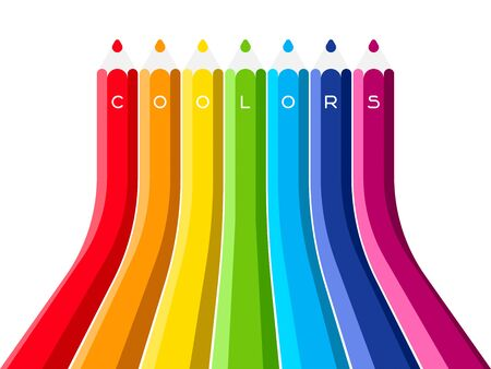 writes: Coolors Set of the grow up color pencil. Rainbow multicolored vector illustration