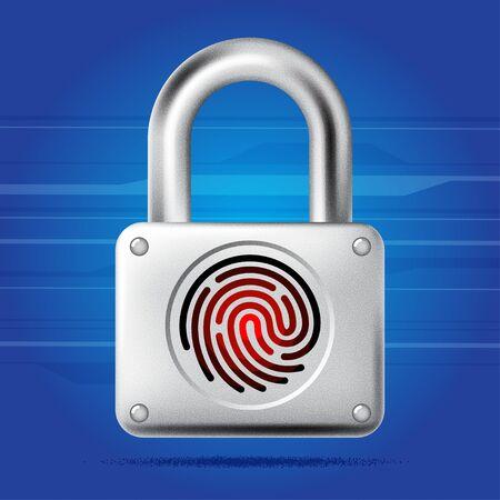 doorlock: Fingerprint lock access icon. Finger print padlock. Security concept icon. Vector illustration Illustration