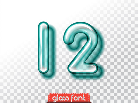 Super realistic glass alphabet font with transparency and shadows. 3D bulb isolated letters and numbers