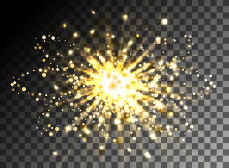 transparent background: Christmas shining gold glitter particles on transparent background. Glow light sparkling effect. Star burst sparkles, dust sparks. Vector illustration Illustration