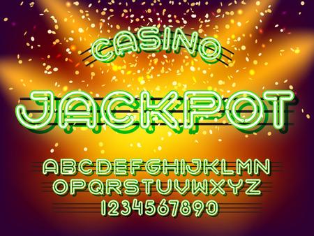 display type: Jackpot casino lettering. Neon Light Alphabet Vector Font. Neon tube letters on dark glow background