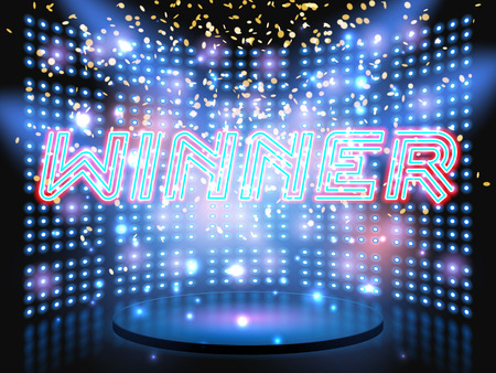 show: Winner neon lettering live stage on background with lightbulb glowing wall. Vector abstract background Illustration