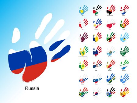 peacemaker: Open human handprint with national flag inside. Set of palm with flags