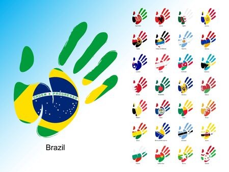 Open human handprint with national flag inside. Set of palm with flags