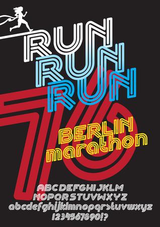 retro type: Run Berlin marathon sport poster. Retro Vintage typeface. Line Alphabet. Type letters and numbers.