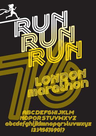 retro type: Run London marathon sport poster. Retro Vintage typeface. Line Alphabet. Type letters and numbers.