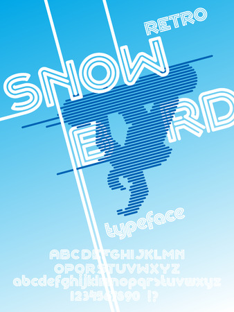 Snowboard font. Retro Vintage poster and typeface. Line Alphabet. Type letters and numbers. Illustration