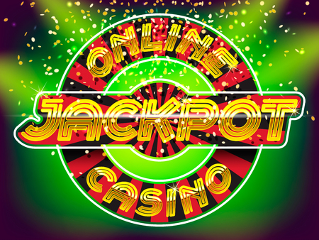 online roulette: Online casino jackpot lettering. Gold letters on the roulette, gold money fall and lightspot background