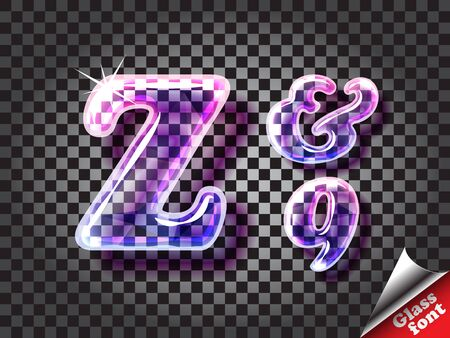 transparency color: Realistic color glass alphabet font with transparency and shadows. 3D bulb isolated letters and numbers