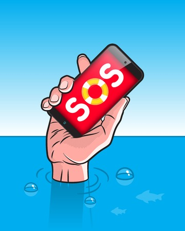 drowning: Drowning man with Smartphone in Hand with SOS signal on screen