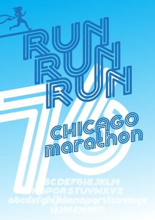 retro type: Run Chicago marathon sport poster. Retro Vintage typeface. Line Alphabet. Type letters and numbers. Illustration