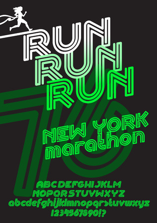 retro type: Run New York marathon sport poster. Retro Vintage typeface. Line Alphabet. Type letters and numbers.