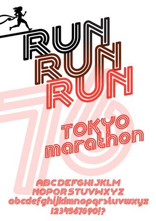 retro type: Run Tokyo marathon sport poster. Retro Vintage typeface. Line Alphabet. Type letters and numbers.