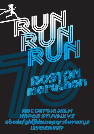 retro type: Run Boston marathon sport font. Retro Vintage typeface. Line Alphabet. Type letters and numbers.
