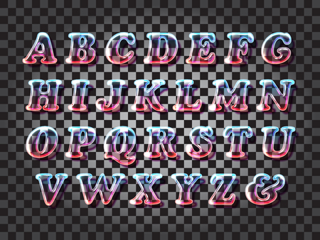 transparency color: Surreal color glass alphabet font with transparency and shadows. 3D bulb isolated letters Illustration