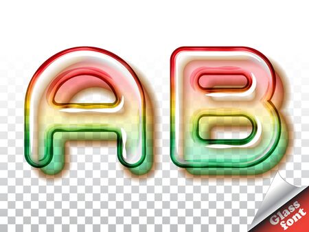 fruity: Realistic summer fruity color glass alphabet font with transparency and shadows. 3D bulb isolated letters and numbers Illustration