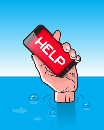 drowning: Drowning man with Smartphone in Hand with HELP signal on screen