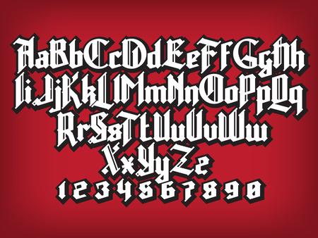 Neue moderne kundenspezifische gotische Schriftart. Voll Alphabet Satz mit Ziffern Vektorgrafik